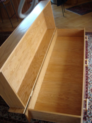 The bookcase coffin ready for use