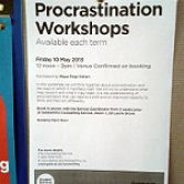 Procastination Workshops handbill