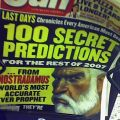 "newspaper headline: ""100 Secret Predictions"""