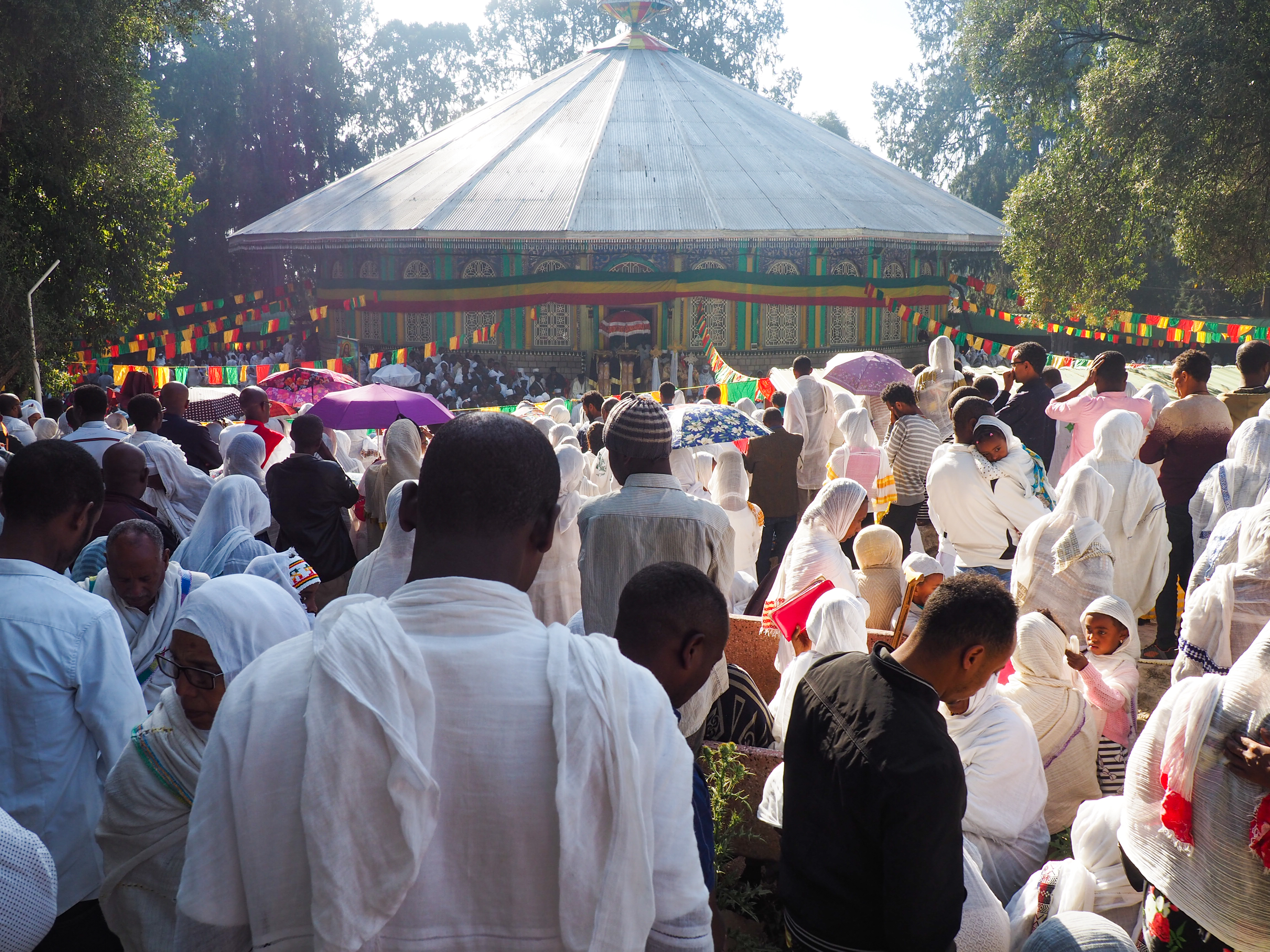 Christmas Day services outside Holy Trinity Cathedral in Addis Ababa