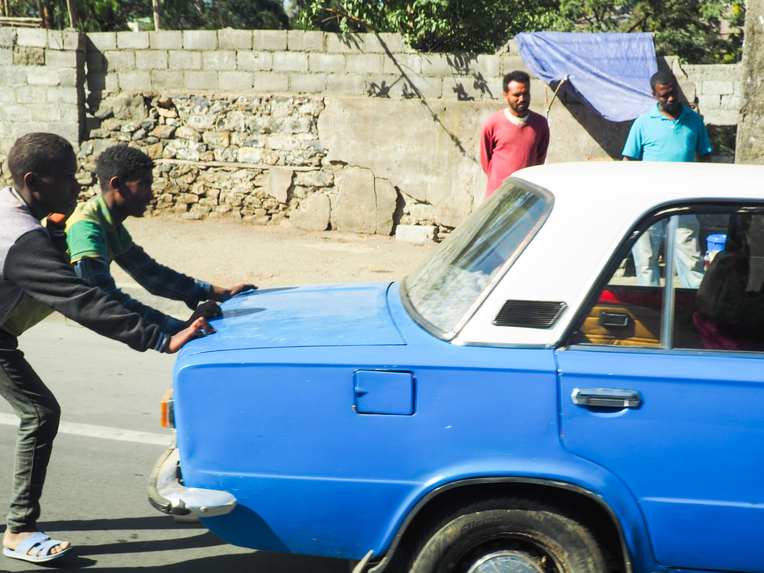 There are thousands of blue and white Russian Ladas on the streets of Addis, one of the legacies of Ethiopia's socialist regime. Almost all are used as taxi cabs. This one seems to be on its last legs.
