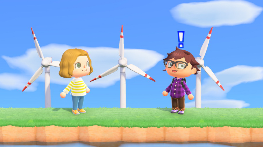 Mark excitedly shows Anne the green energy infrastructure of Bacon Isle. <em>Nintendo/Mark Riechers (TTBOOK)</em>