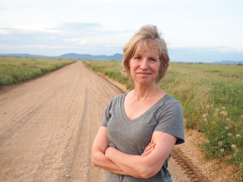 &nbsp;Anne on one of the Serengeti's backroads. <em>Steve Paulson (TTBOOK)</em>