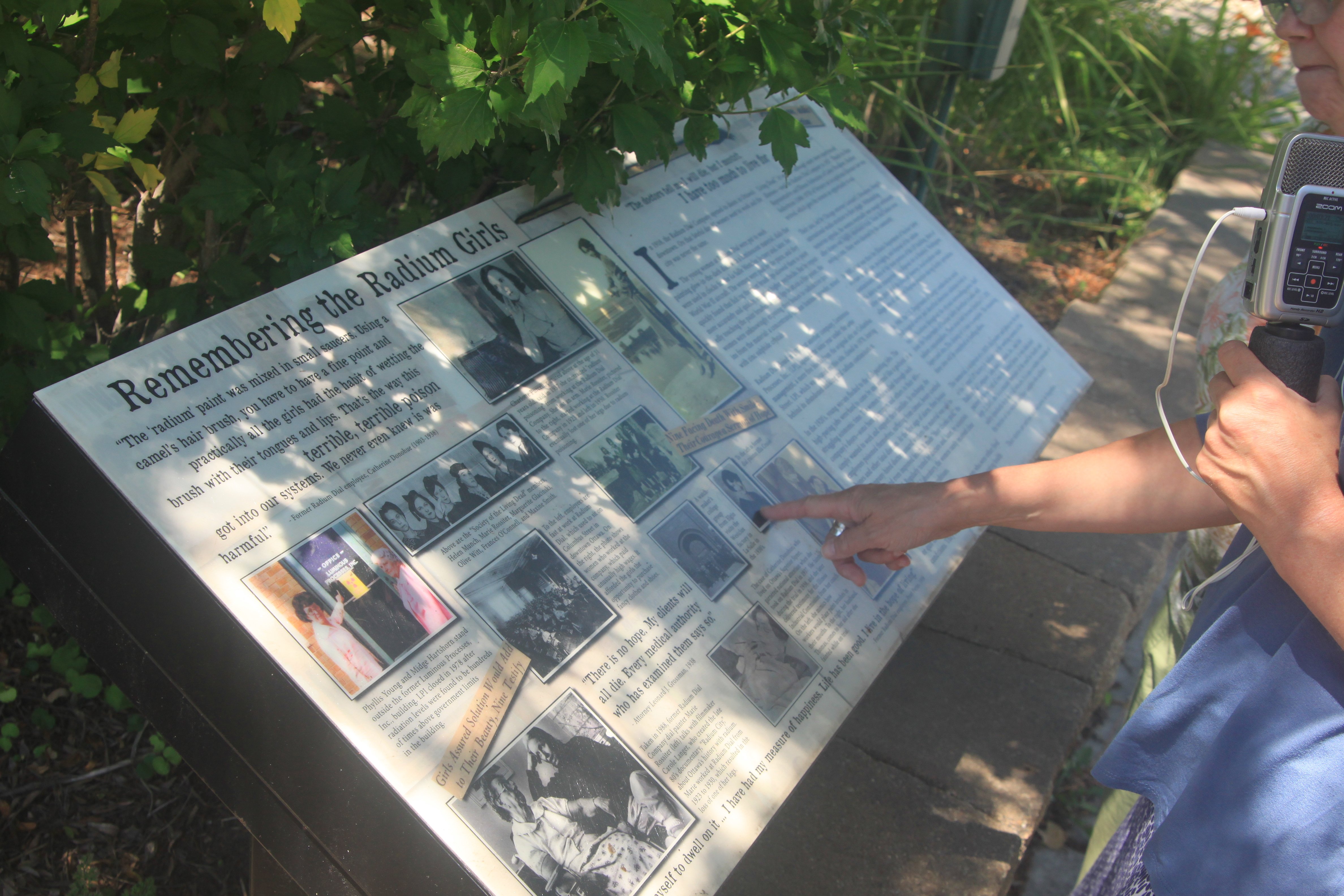 "A memorial to the ""radium girls"" of Ottawa has been erected near the site of the Luminous Processes plant."