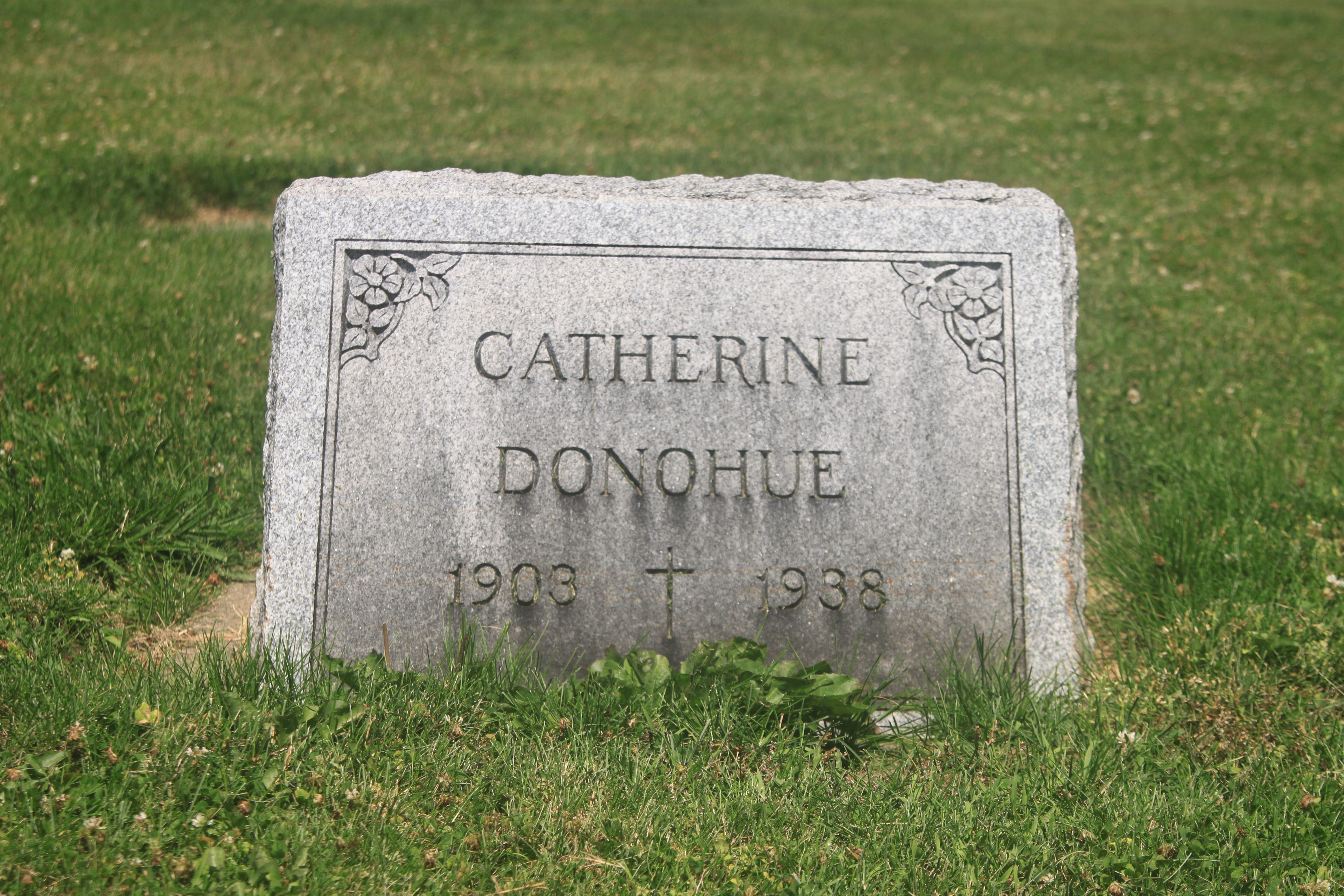 A memorial to Catherine Donahue. The town cemetery is filled with women who died young due to poisoning from the radium dial factories, including Peg Looney and Catherine Donohue.