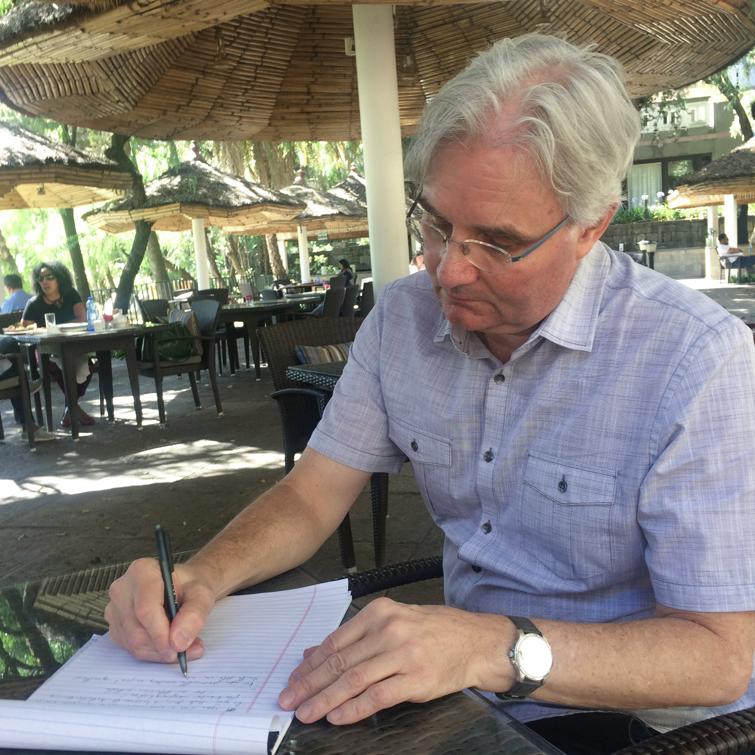 Steve checks his notes at the historic Addis Hilton