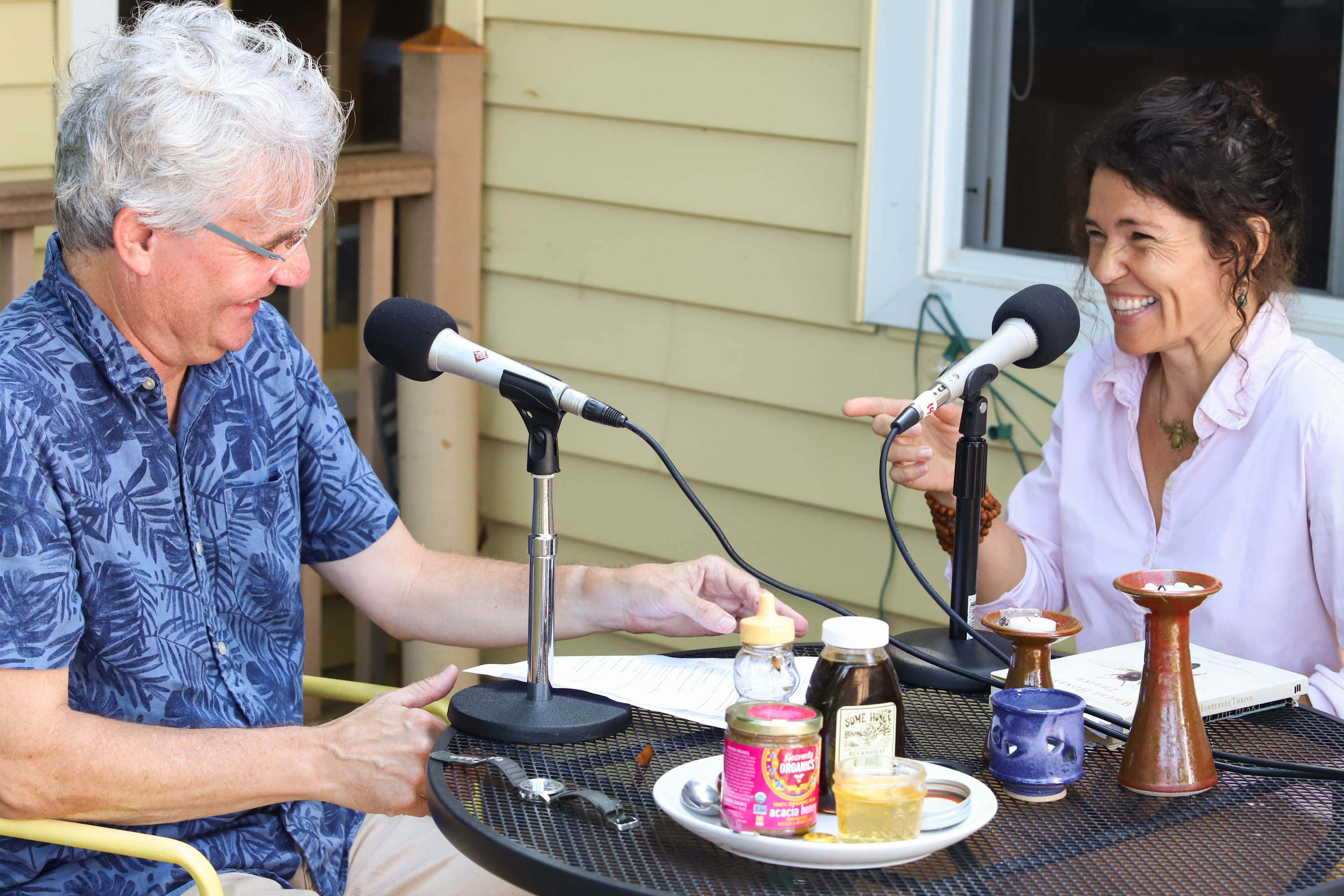 Heather, our crew and the bees gather for a honey taste test. Steve and Heather discuss the overworked life of a queen bee. <em>Shannon Henry Kleiber (TTBOOK)</em>