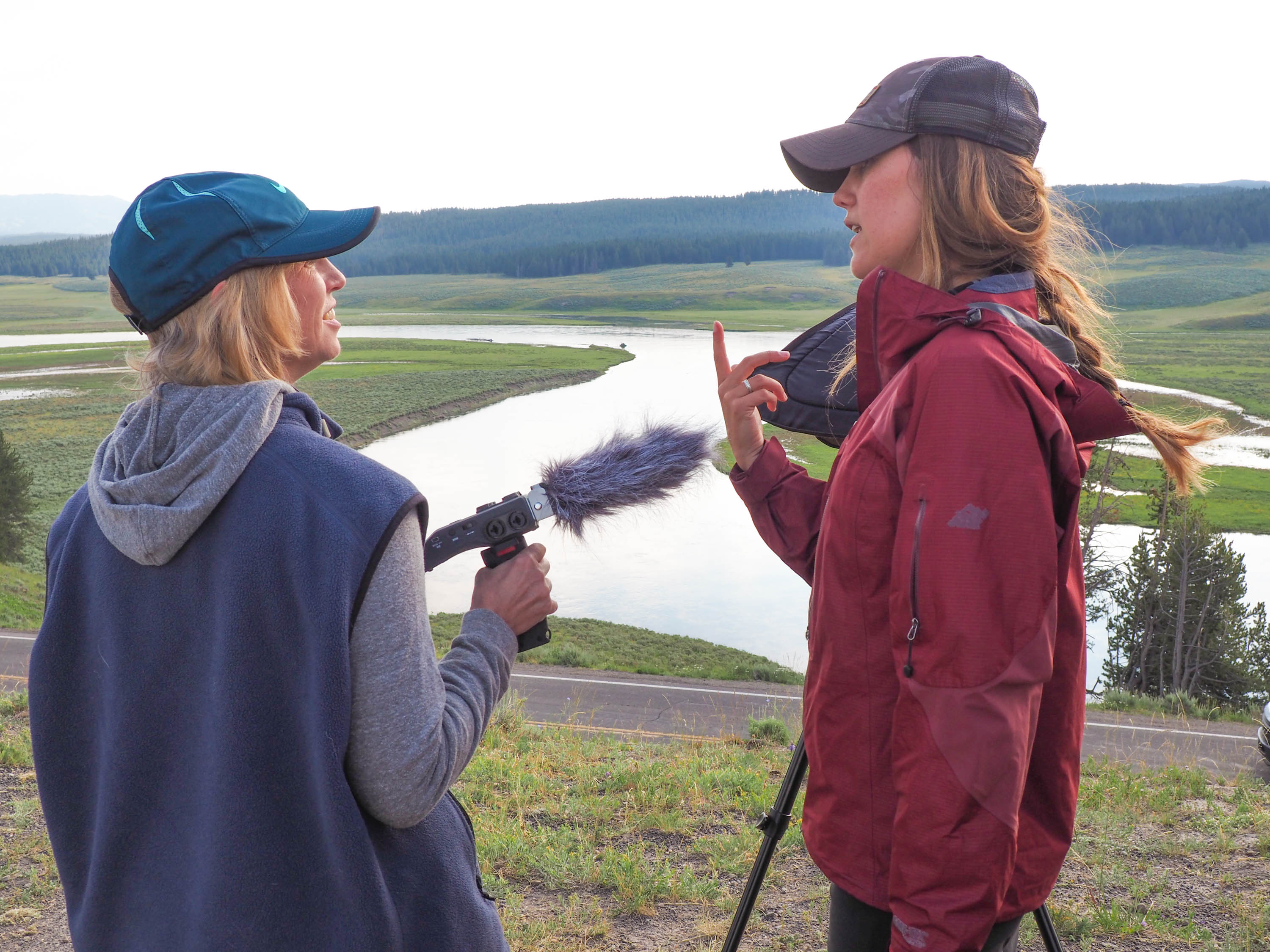Anne speaks with Lianna Ferguson, a guide with Yellowstone Wolf Tracker. <em>Steve Paulson (TTBOOK)</em>