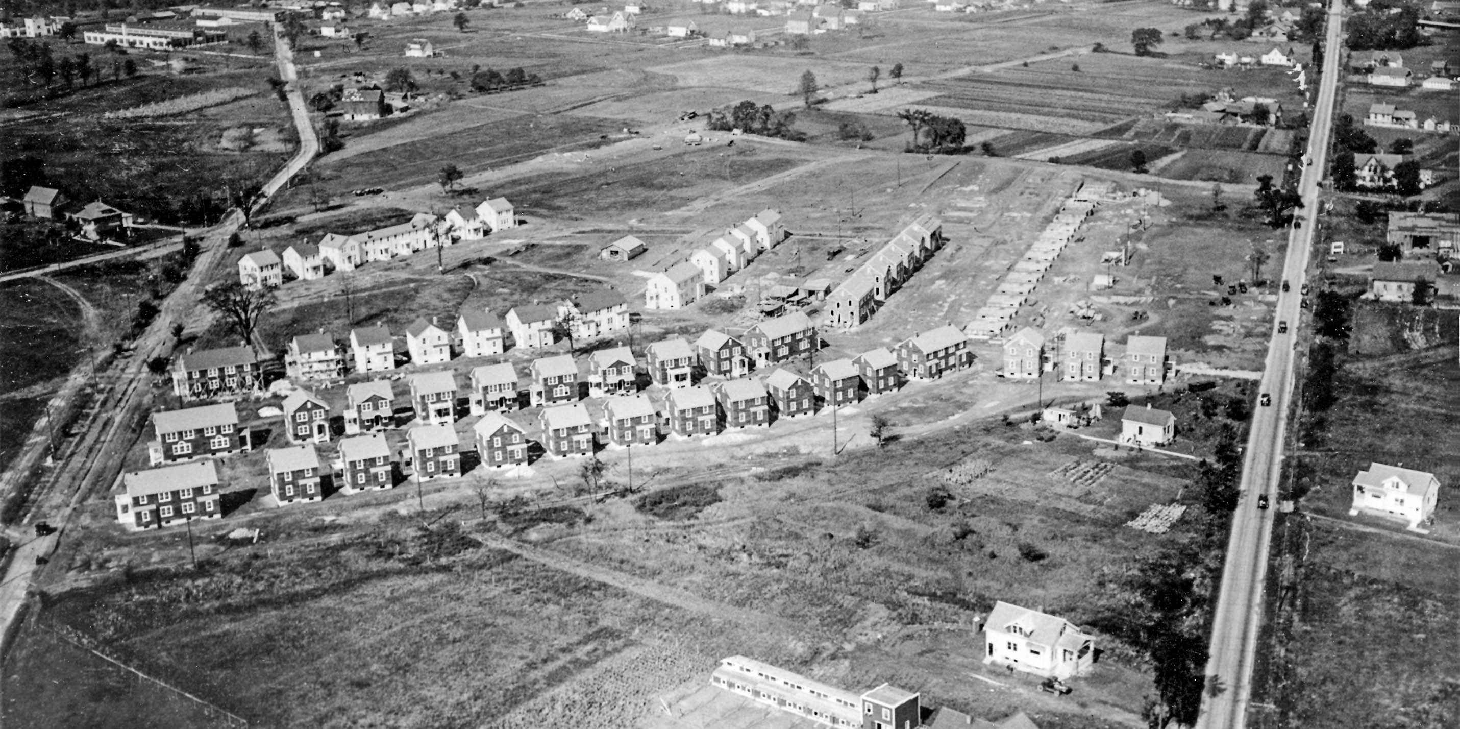 An aerial shot of the Garden Homes neighborhood when it was still on the outskirts of Milwaukee.