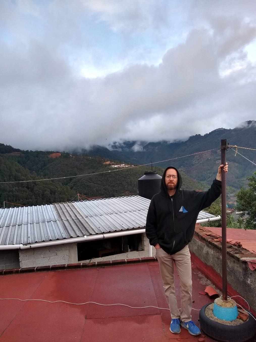 Seth on a rooftop in Tlahuitoltopec. <em>Seth Jovaag (TTBOOK)</em>