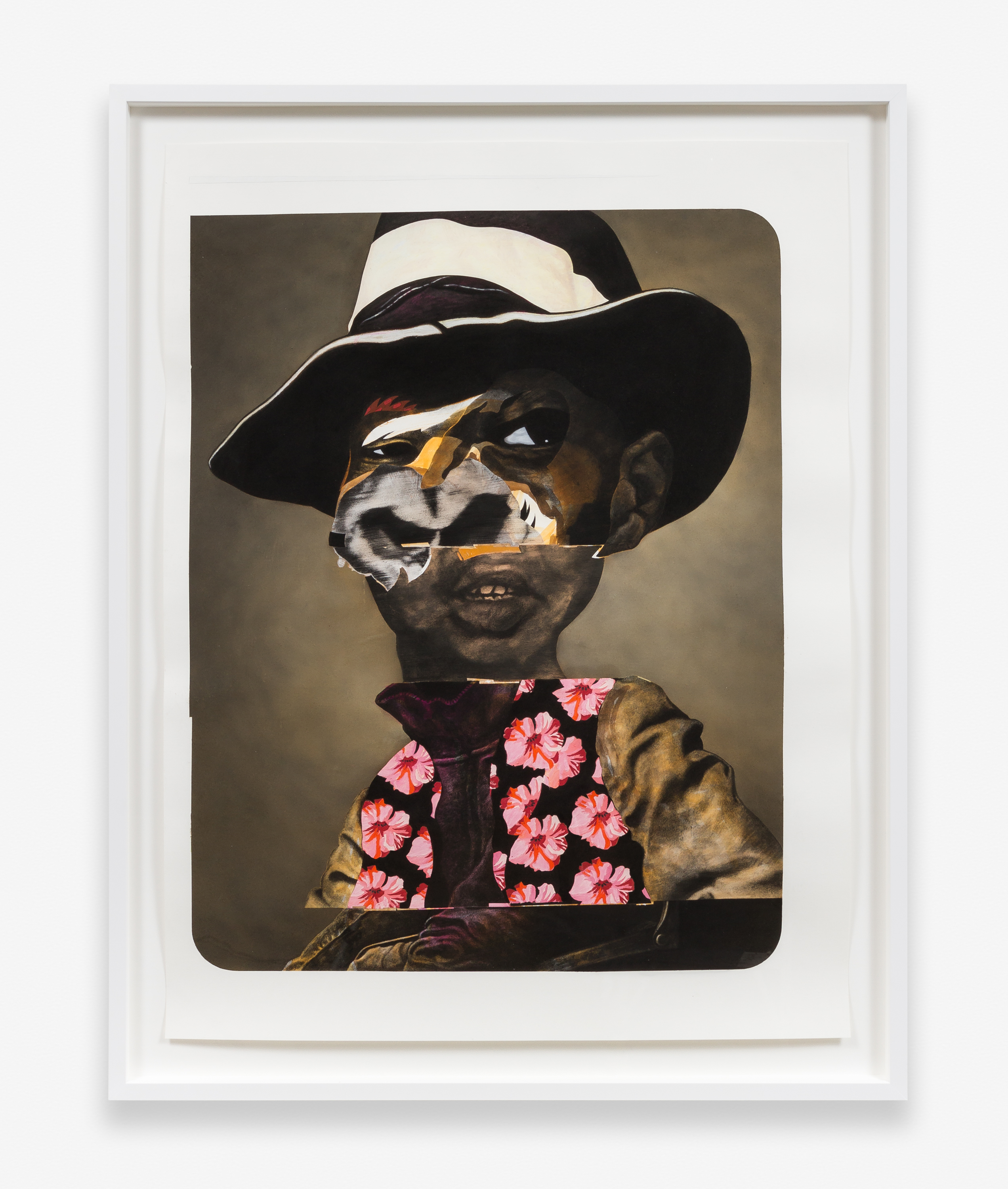 Nathaniel Mary Quinn, <em>Charles Re-Visited</em>, 2015. Black charcoal, soft pastel, oil pastel, paint stick, gouache on Coventry Vellum paper. 50 x 38 inches. Collection of Helyn Goldenberg and Michael Alper. Image courtesy of the artist and Rhona Hoffman Gallery. Photography by RCH.