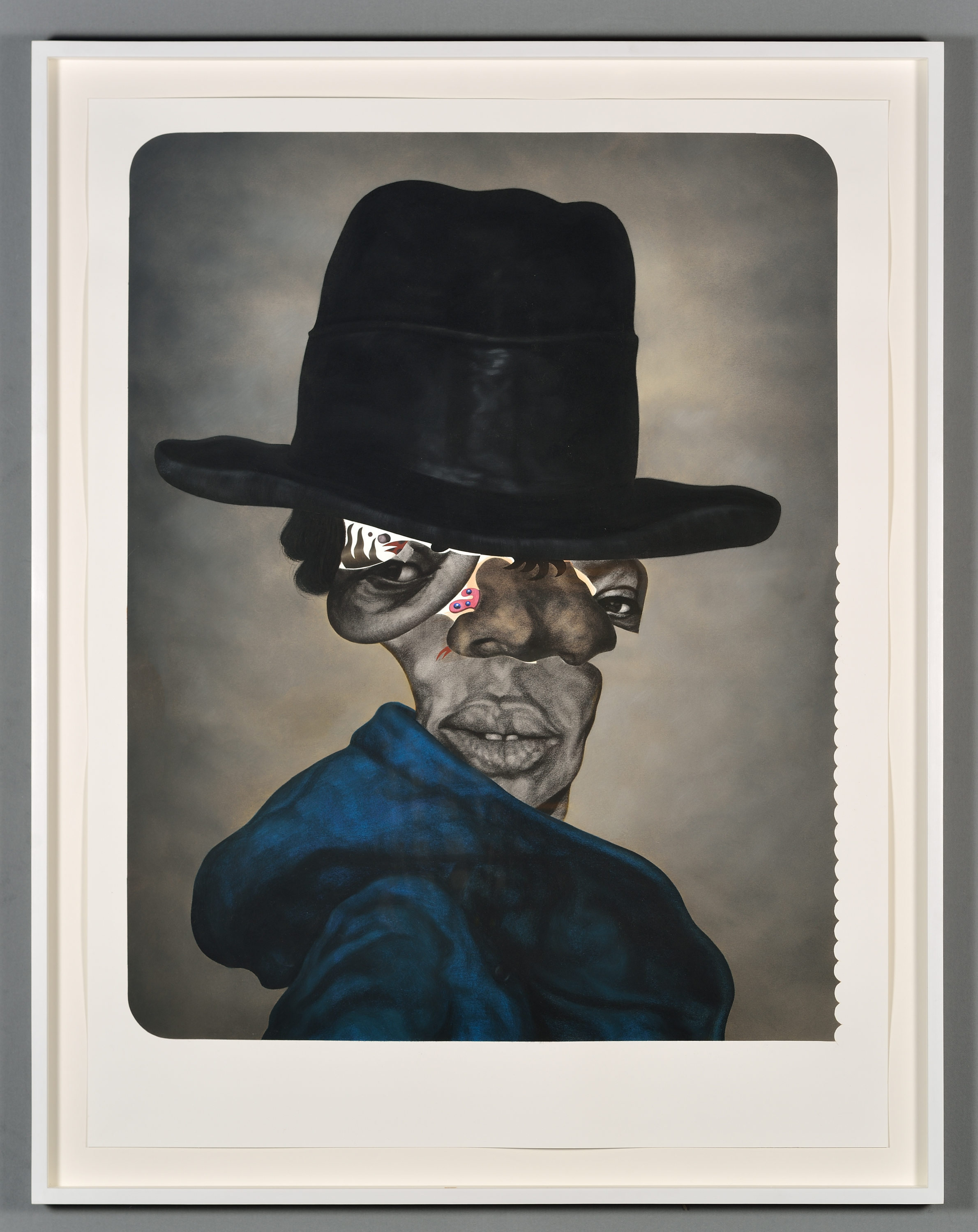 Nathaniel Mary Quinn, <em>First </em><em>and</em><em> Fifteenth</em>, 2016. Black charcoal, gouache, soft pastel, oil pastel on Coventry Vellum paper. 50 x 38 inches. Collection of Doreen Chambers and Philippe Monrougie. Image courtesy of the artist and Rhona Hoffman Gallery. Photography by Alex Yuzdon.