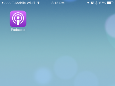 "On an Apple iPhone, click the ""Podcasts"" app."