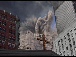 James Nachtwey, Collapse of the South Tower, Church of St. Peter, September 22, 2001.