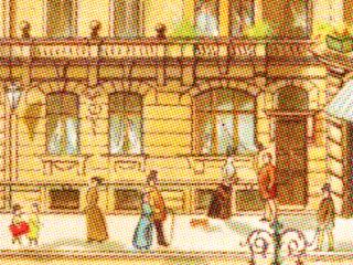 children's book illustration of a city street