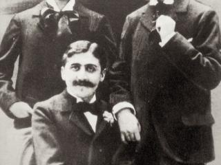 Marcel Proust (seated), Robert de Flers (left) and Lucien Daudet (right), ca. 1894