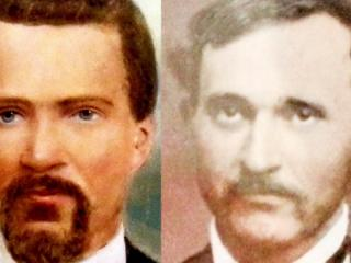 Half brothers Robert Lafayette Gee (right) and Henderson Gee (left). Robert was Ruben Gee's first child to his white wife, Aurelia. Henderson was his second child to his slave, Venus. Henderson was born a slave.