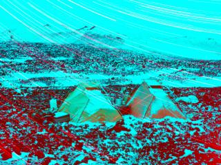 Tents of scientists during Antarctic summer
