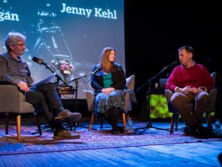 (Left to Right) Steve talks with Jenny Kehl and Dan Egan.