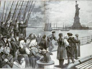 Immigrants on ocean steamer passing the Statue of Liberty, New York City, 1887