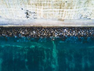 sea wall on a cliff