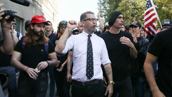 Right-wing provocateur and Vice Media co-founder Gavin McInnes pumps his fist during a rally at Martin Luther King Jr. Civic Center Park on April 27, 2017 in Berkeley, Calif.