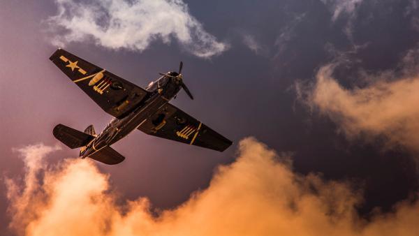 A war plane flies.