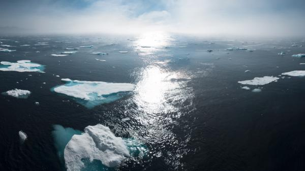 Greenland ocean sunset
