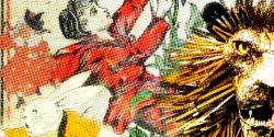 Children's book art of mother goose, peter rabbit, jack climbing a beanstalk and a lion