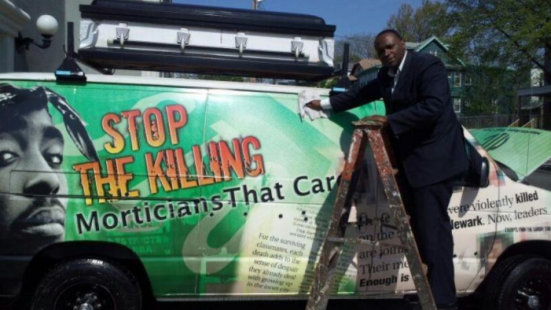 """""""Stop the killing"""" on mortuary van"""