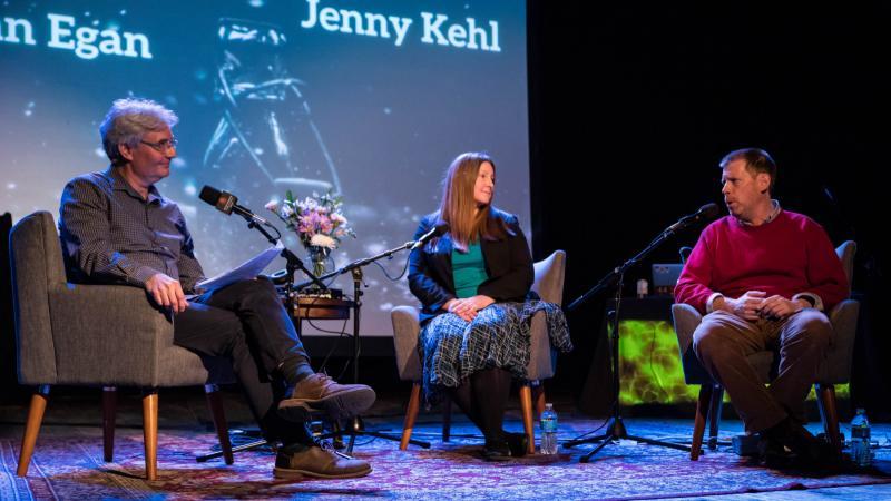 (Left to Right) Steve talks with Jenny Kehl and Dan Egan.