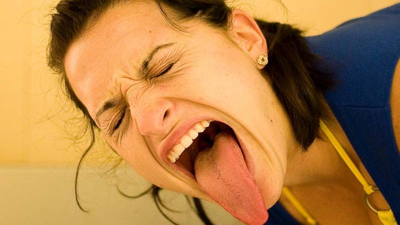 Actress with long tongue