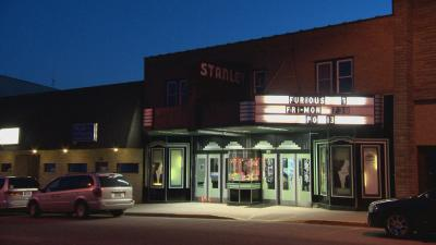 Exterior of movie theater in Stanley, WI