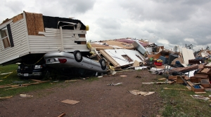 Tornado damage at the Prairie Lake Estates Mobile Home Park near Chetek