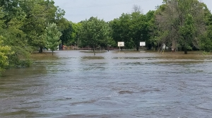 Basketball hoops and volleyball nets half underwater