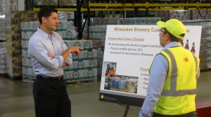 House Speaker Paul Ryan met with Tom Ruffulo, the customer service department manager, at the Miller Brewery in Milwaukee.