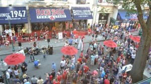 Fans gather on 4 Yawkey Way