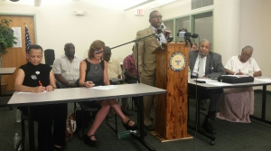 Fred Royal of the Milwaukee Branch of the NAACP speaks at Monday's news conference.