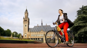 Woman riding a bicycle in the Netherlands