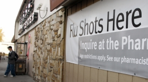 """Flu shots here"" sign"