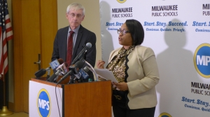 Milwaukee Public Schools Superintendent Darienne Driver and Wisconsin Department of Public Instruction Superintendent Tony Evers