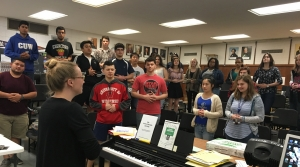 Ronald Reagan High School Choir Instructor Erica Breitbarth teaches a music class.