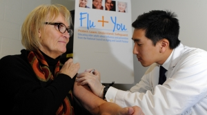 Woman receiving a flu shot