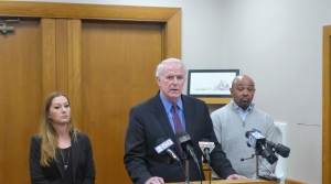 Milwaukee Mayor Tom Barrett flanked by Erica Lewandowski and Preston Cole of the Department of Neighborhood Services where Greg Zyszkiewicz worked