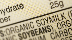 Ingredients label for soy milk