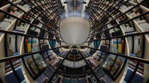 A fisheye lense view of bookshelves