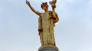 "The ""Lady Wisconsin"" statue atop the Wisconsin Capitol building"