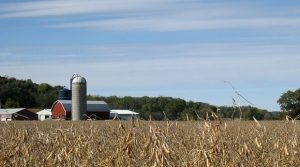 A farm and surrounding fields in south-central Wisconsin