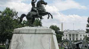 Statue of Andrew Jackson stands in Lafayette Park, in front of the White House.