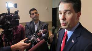 Scott Walker speaking to reporters